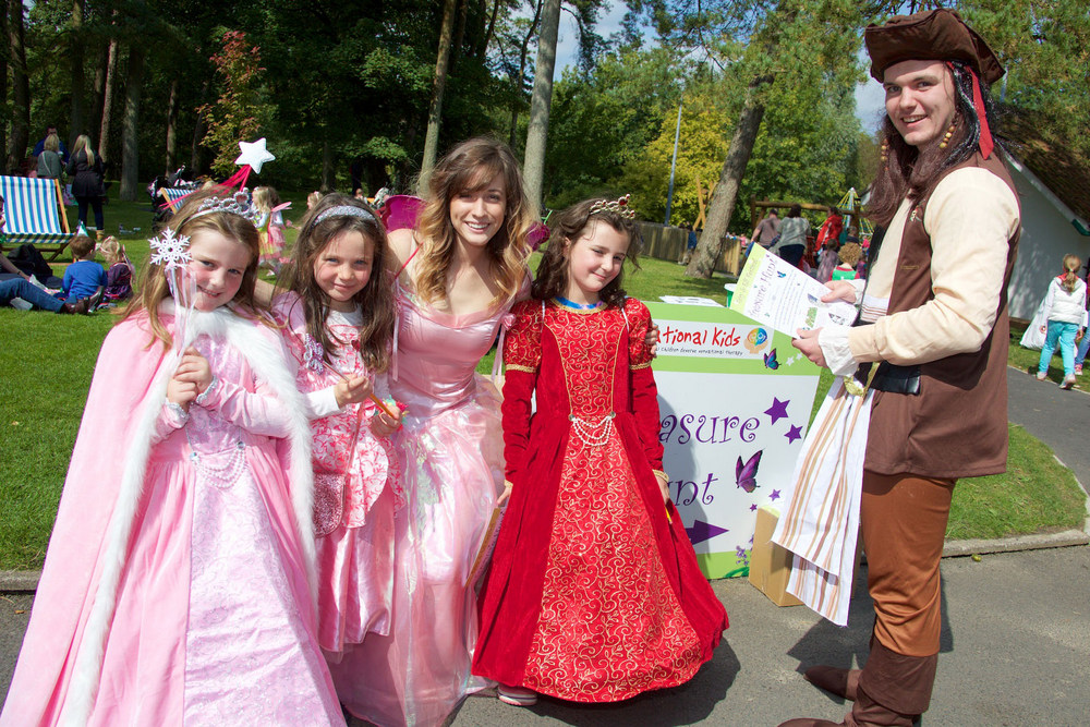 Ali Condren, Eabha Parker, and Darby Condren, from Bray, with costume characters Christina Bozzi and Jack Kennedy of Mixtape Promotions, pictured at the Sensational Kids' Charity Fairy and Elf Festival at the Irish National Stud & Gardens on Saturday, September 5th.